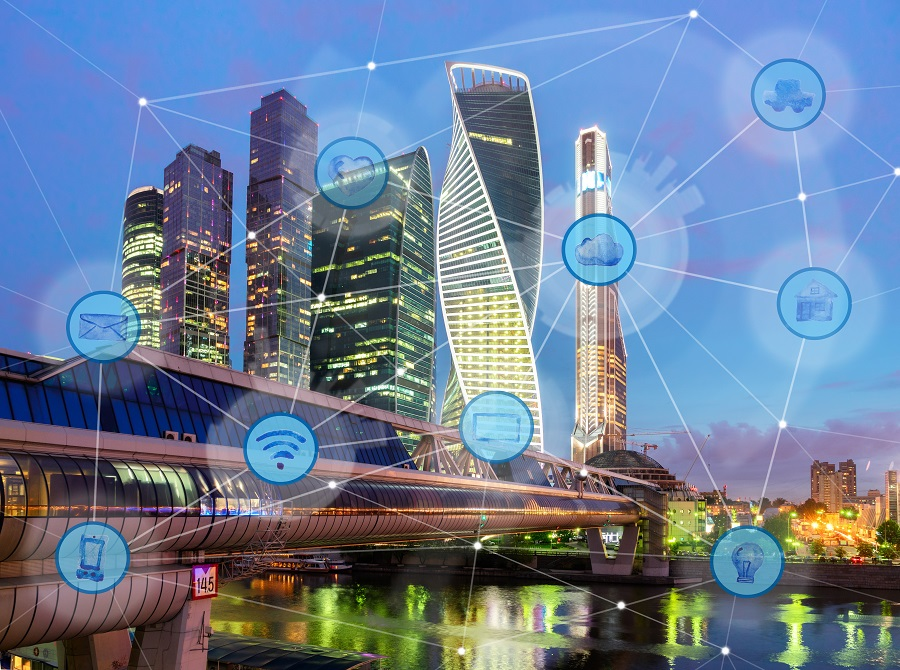night city and wireless communication network, IoT Internet of Things and ICT Information Communication Technology concept
